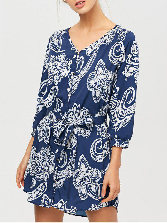 shop Vintage Printed Tunic Shirt Dress - BLUE 2XL