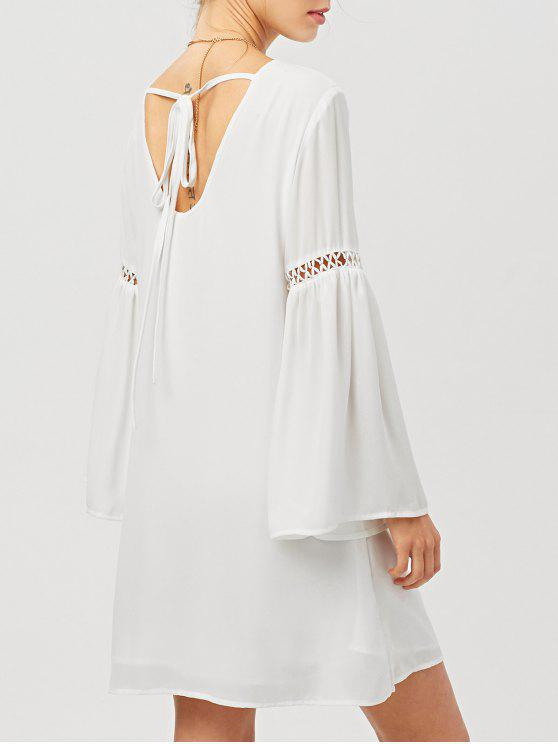 outfits Cut Out Long Flare Sleeve Swing Dress - WHITE 2XL