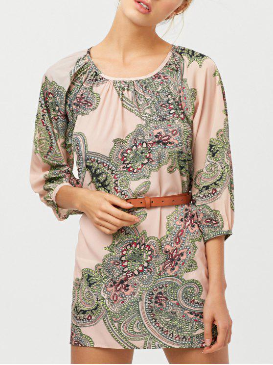 fancy Lantern Sleeve Belted Paisley Dress - APRICOT L