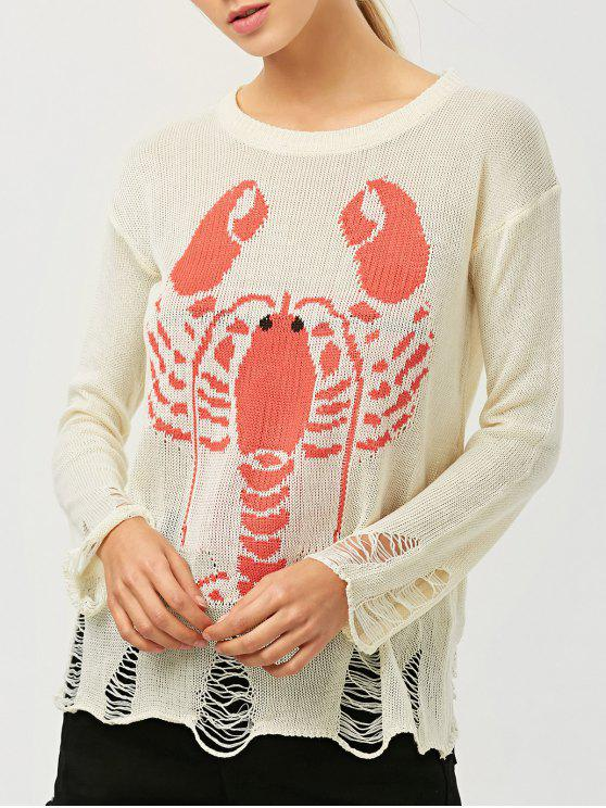affordable Oversized Distressed Graphic Sweater - OFF-WHITE ONE SIZE