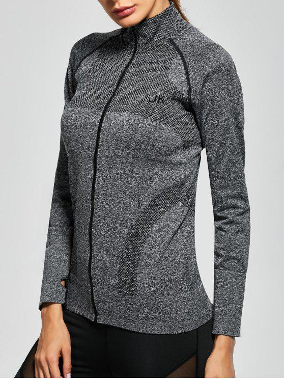 ladies Quick Dry Zipper Work Out Running Jacket - GRAY M