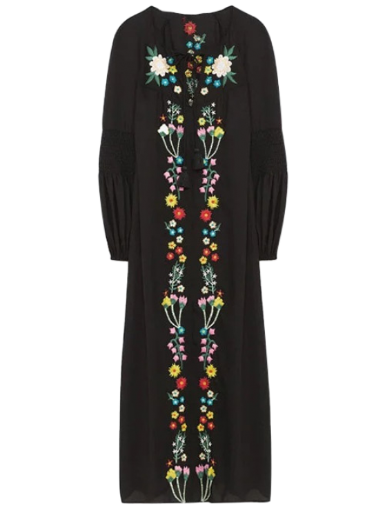 Floral embroidered lace up long sleeve dress black