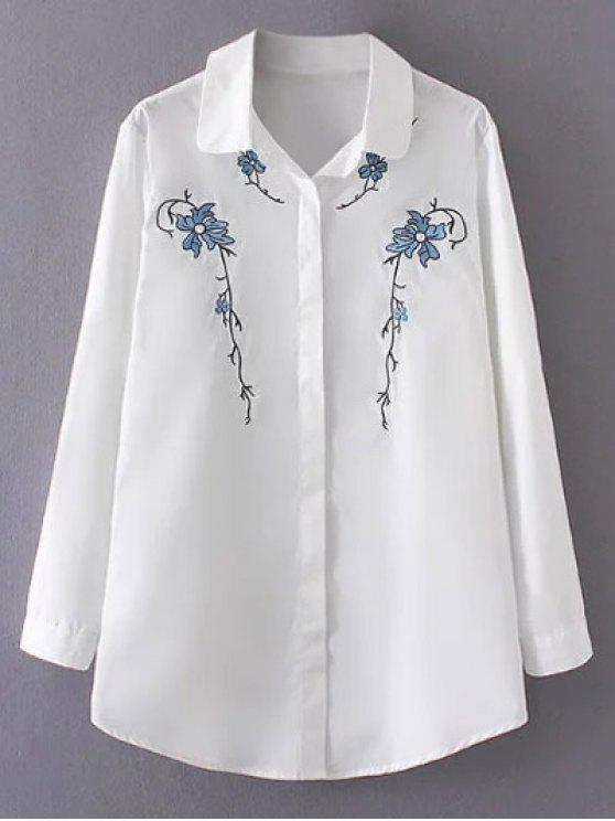 Camisa Bordada Orquídea Abotonado - Blanco 3XL