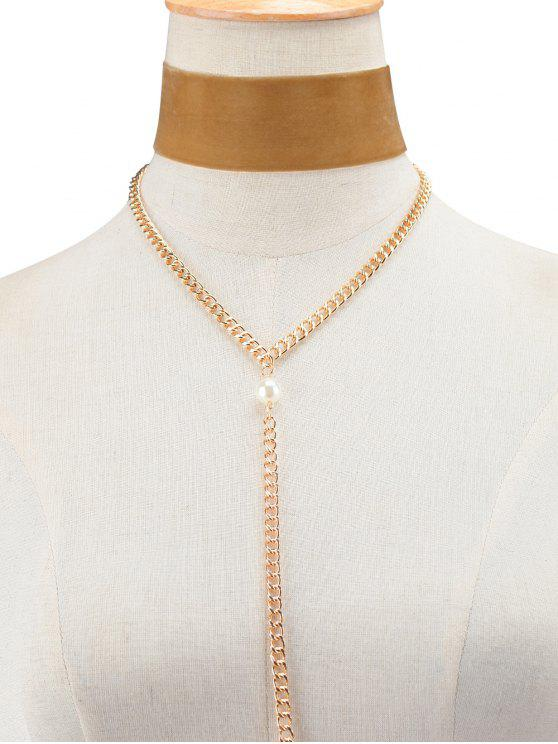 women's Fake Pearl Chain Velvet Layered Necklace - BROWN