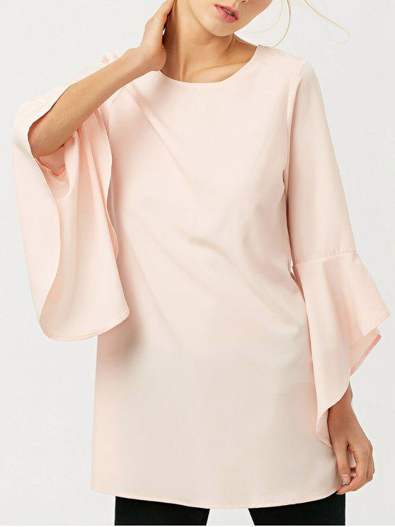 fashion FItting Flare Sleeve Blouse - LIGHT APRICOT PINK S