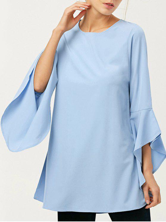 fancy FItting Flare Sleeve Blouse - LIGHT BLUE L