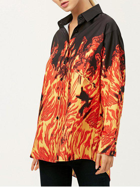 best Oversized Fire Print Shirt - JACINTH L