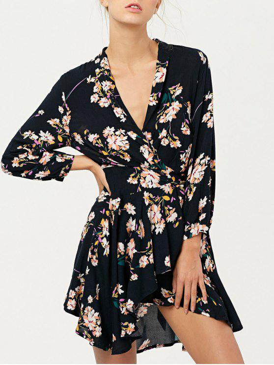 unique Floral Asymmetric Wrap Dress - CADETBLUE M