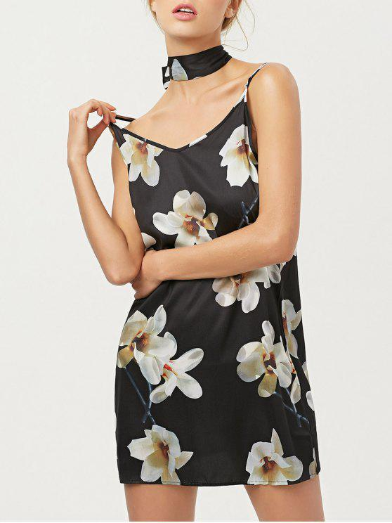 Mini vestido floral con las bufandas de seda - Negro M