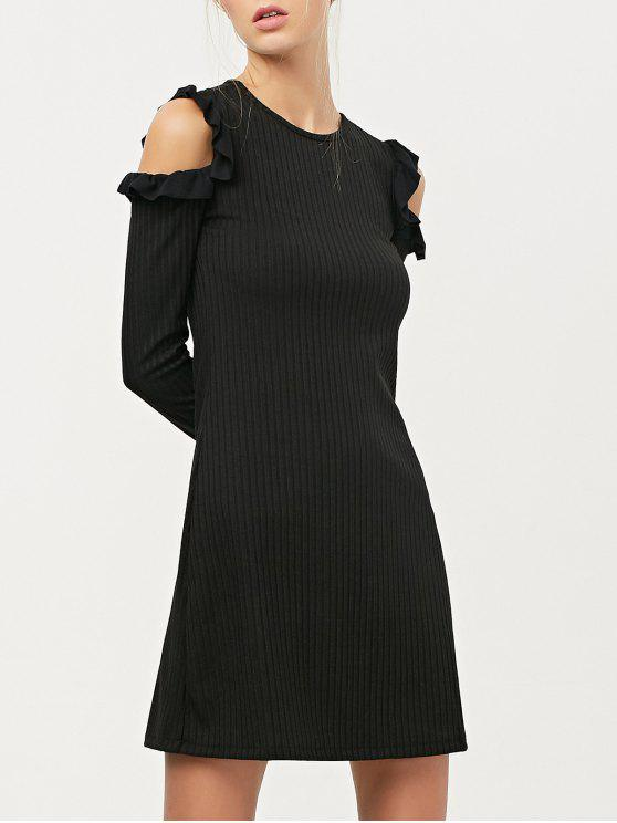 ladies Long Sleeve Cold Shoulder A-Line Dress - BLACK S