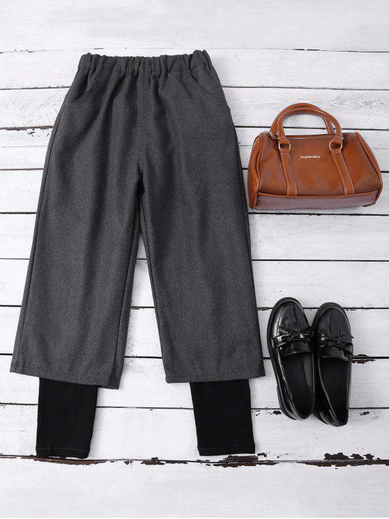 Cintura elástico en capas pantalones de pierna ancha - Gris Oscuro L
