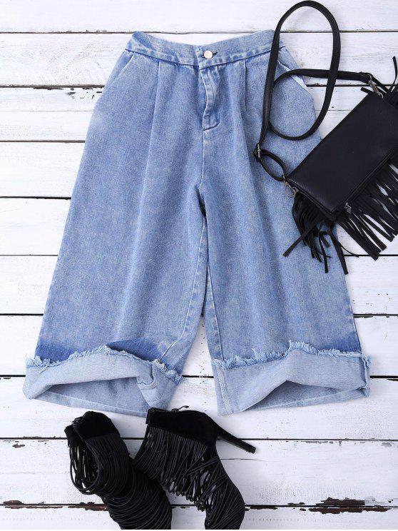 Ombre anchas de la pierna de los pantalones vaqueros - Azul S