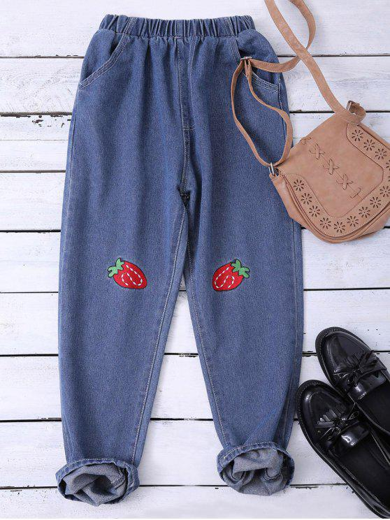 shop Embroidered Heram Jeans - BLUE XL