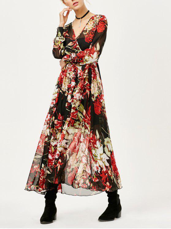 Maxi Vestido Floral Transparente con Pliegues - Floral M