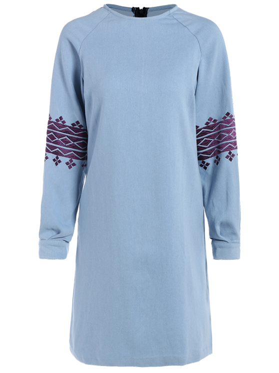 women's Embroidered Sleeve Denim Tunic Dress - LIGHT BLUE L