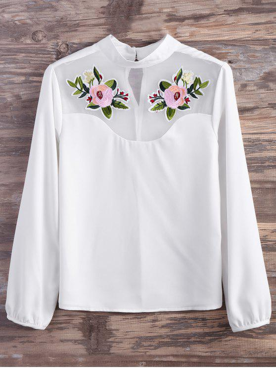 lady Mesh Panel Floral Embroidered Blouse - WHITE L