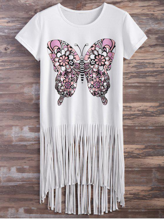 chic Butterfly Print Fringe T-Shirt - WHITE M