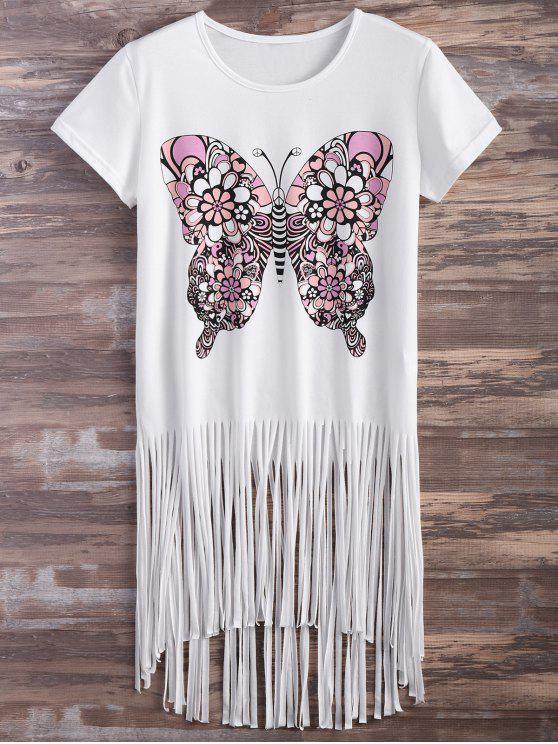 latest Butterfly Print Fringe T-Shirt - WHITE 2XL