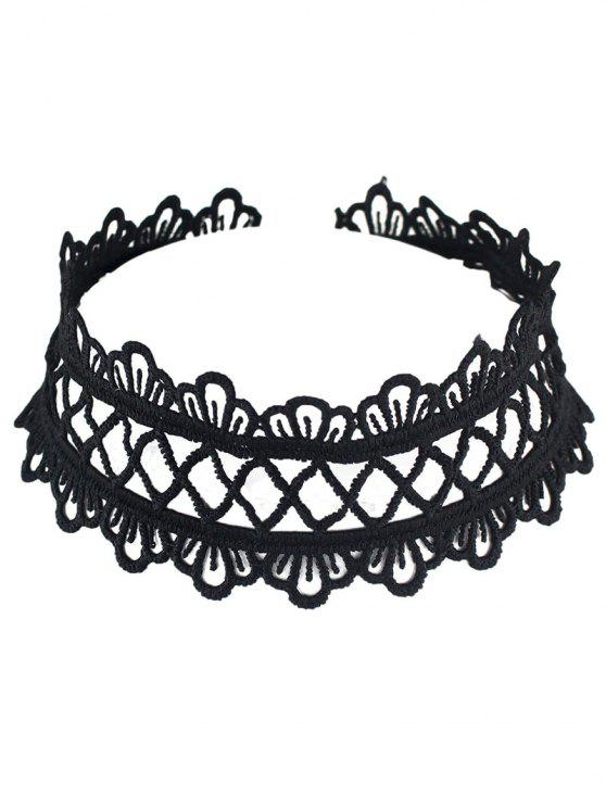 buy Hollowed Wide Lace Choker - BLACK