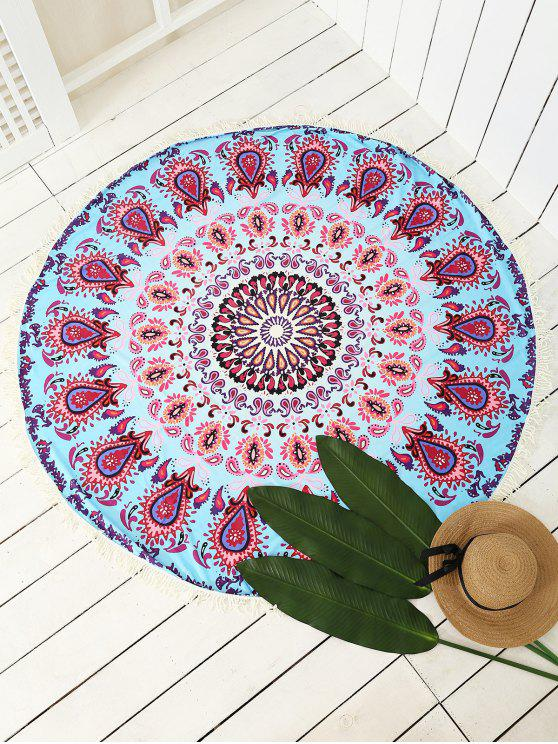 trendy Peacock Print Tassel Sarong Beach Throw - COLORMIX ONE SIZE