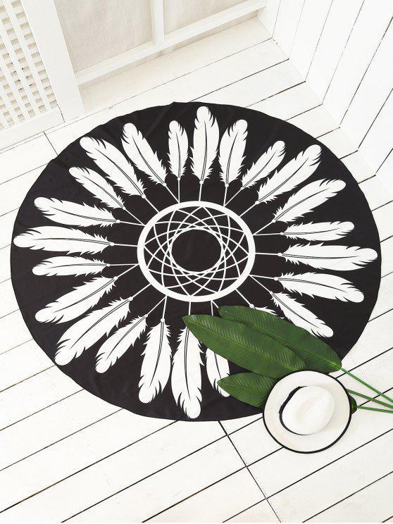 ريشة مطبوعة سارونغ شاطئ رمي - أسود حجم واحد