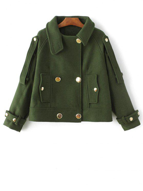 outfits Cropped Wool Blend Bridge Coat - ARMY GREEN L