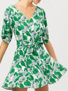 Leaves Print Belted A-Line Dress - Green Xs