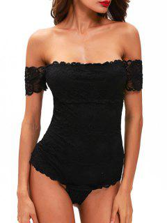 Lace Off The Shoulder Bodysuit - Black S