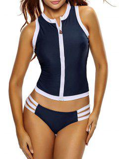 Color Block Full Zip Sports Tankini Set - Deep Blue L