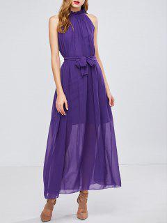 Vestido Chifón Largo Con Cinturón - Púrpura