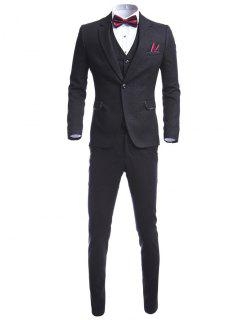 Lapel One Button Waistcoat Three Piece Suit - Black M
