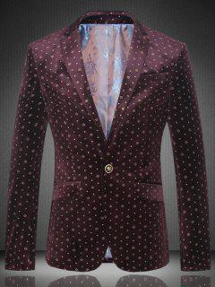 Slim Fit Lapel One Button Printed Blazer - Wine Red L