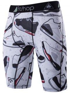 Shoes Printing Skinny Cycling Shorts - White L