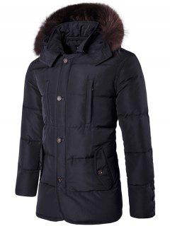 Manteau à Capuche à Une Ligne De Bouton Et à Col En Fourrure Artificielle - Noir M