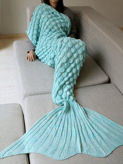 Fish Scale Knit Long Mermaid Blanket Throw - Sky Blue