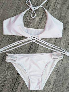 Strappy Cutout Lace-Up Bikini Set - White L