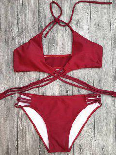 Strappy Cutout Lace-Up Bikini Set - Red M
