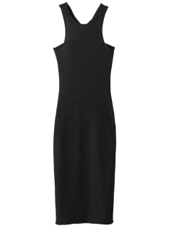 Twist Low Back Pencil Tank Dress - Black S