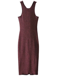 Twist Low Back Pencil Tank Dress - Wine Red S