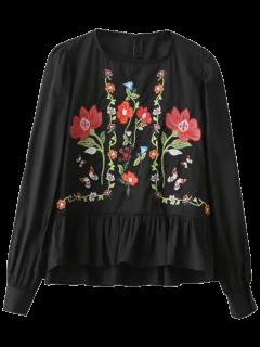 Jersey De La Colmena Floral Blusa Bordada - Negro L