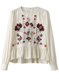 Pull Ruffle Floral Brodé Chemisier - Blanc S