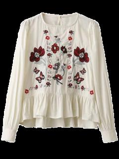 Jersey De La Colmena Floral Blusa Bordada - Blanco S
