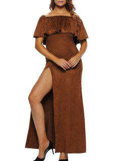Off Shoulder Ruffles High Slit Maxi Dress - Brown S
