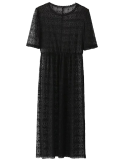 Lace Sheer Midi Dress - Black S