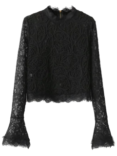 Flare Sleeve Scalloped Lace Top - Black S