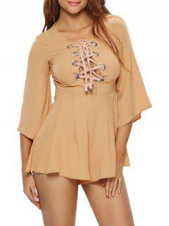 Lace Up Plunge Playsuit - Kaki M