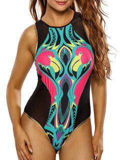 Flamingo Print Mesh Cute High Neck Swimsuit - Black Xl