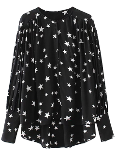 High Low Boyfriend Star Print Shirt - Black S