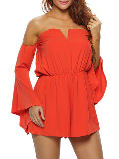 Crêpe Bardot Tube Playsuit - Orange S