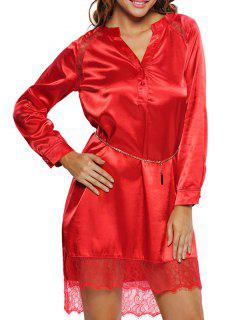 Lace Satin Balted Lounge Dress - Red L